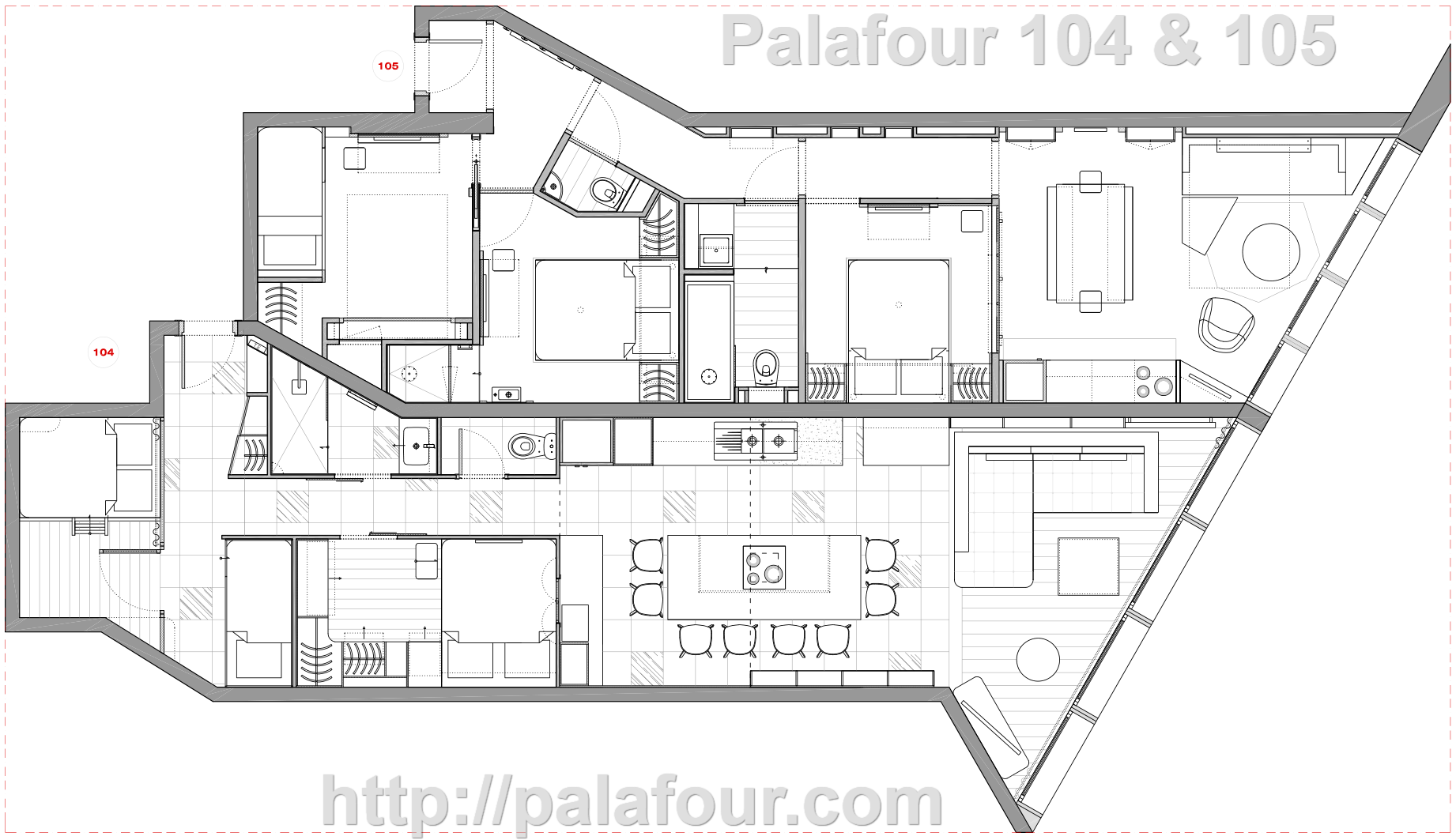Plan des 2 appartements mitoyens Palafour 104 and Palafour 105